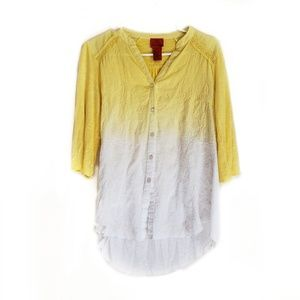 V Cristina Yellow to White Ombre Button Down Top
